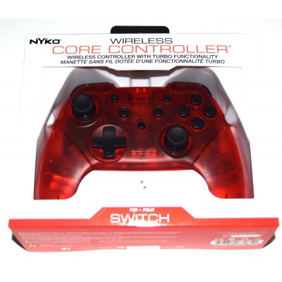 Mando Pro compatible Switch Bluetooth Nyko rojo transparente