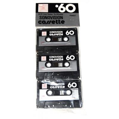 Pack 3 cintas de Cassette vírgen Sonovision 60