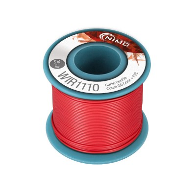 Rollo 25m. cable conexión flexible 0.5mm rojo