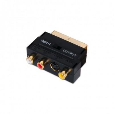 ADAPTADOR EUROCONECTOR A RCA/SVIDEO, SCART/M-3XRCA/H+SVIDEO/H CON SWITCH, NEGRO