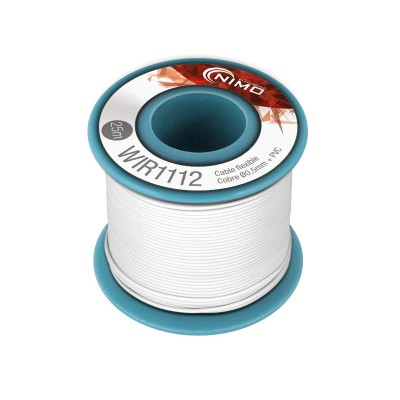 Rollo 25m. cable conexión flexible 0.5mm blanco