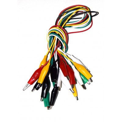10 cables pinza cocodrilo aisladas